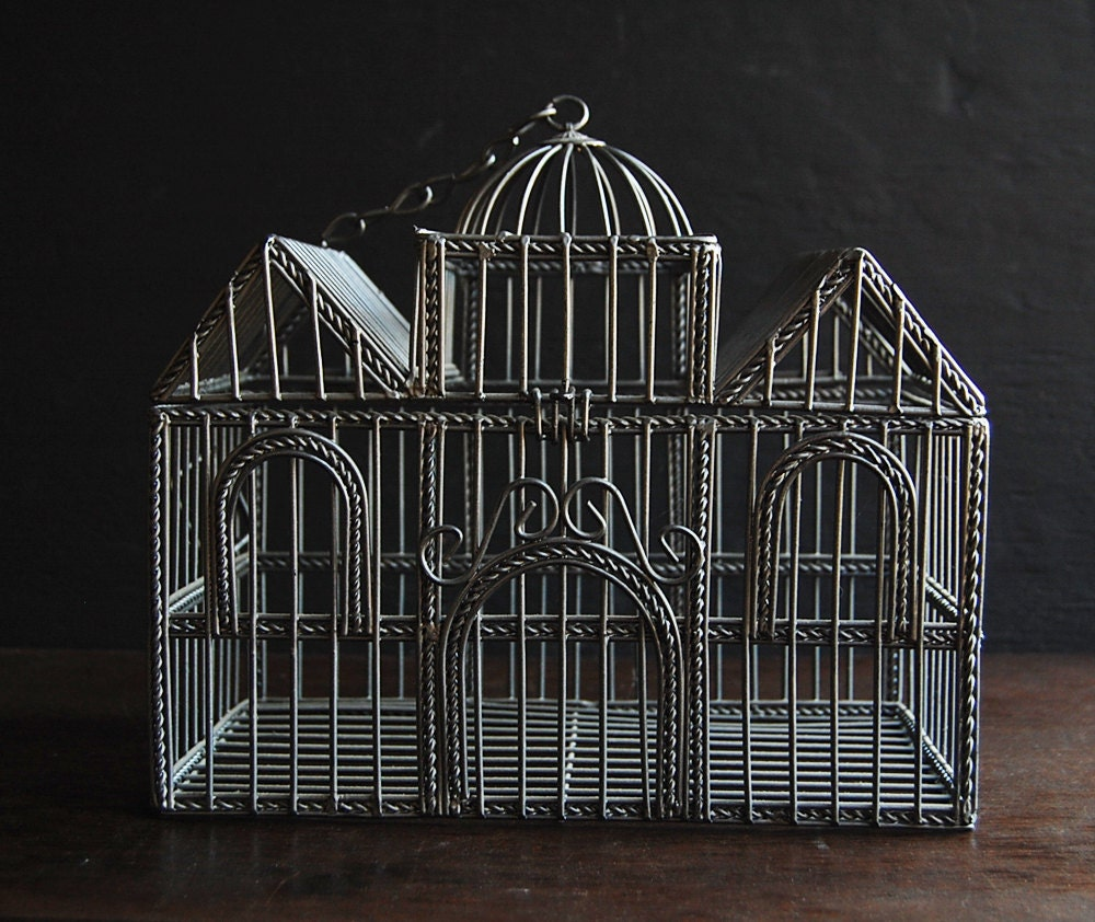Victorian Metal Wire House Bird Cage By TheVintageParlor