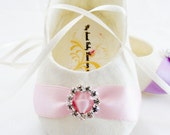 IVORY or WHITE Baby Shoe, Baby Girl Shoes, FREE Personalization, Baptism, Wedding