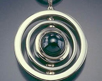 Saturn Pendant in Sterling and Hematite
