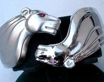 PANTHER BRACELET in Rhodium-plated Sterling w/rubies
