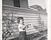 Young Man Playing his Toy Trombone Real Photo Snapshot 1930s