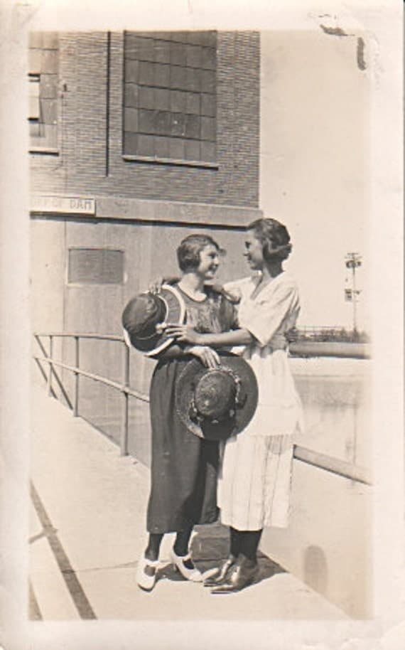 Ladies posed on Dam Great Hats Dresses, and Hair Do's Real Photo Snapshot Circa 1930's