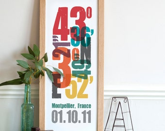 Personalized Coordinate Print - 8x20 inches - Unique gift for wedding, anniversary, new home, etc - Personalised