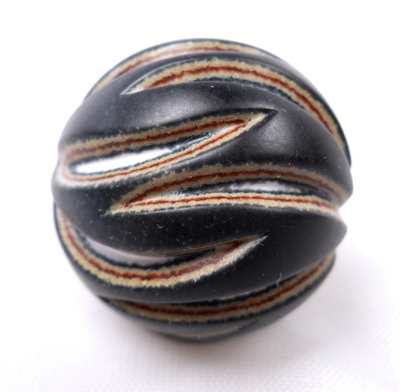 New Hampshire Trade Beads - Carved hollow blown ball bead