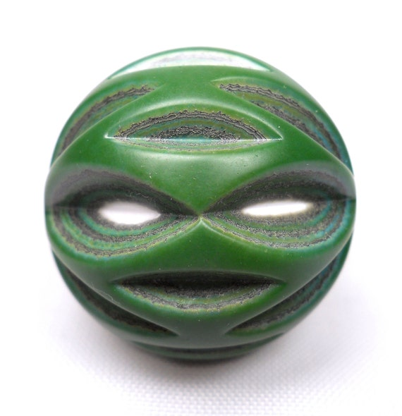 American Trade Bead - New Hampshire - Ball bead. Carved hollow blown boro glass lampwork. Relisted, original price 55.00