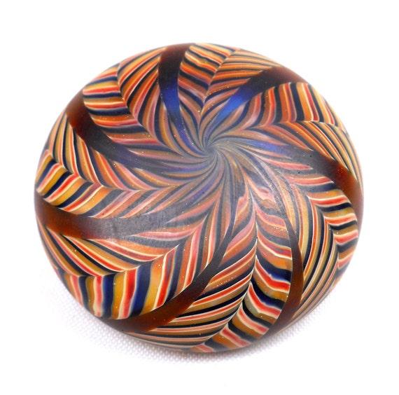 American Trade Bead - California - Flat backed disk bead. Hollow blown boro glass lampwork. Relisted, original price 100.00