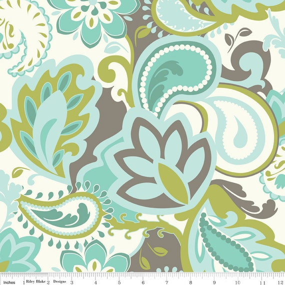 Emily Taylor for Riley Blake Designs - Verona - Main in Teal - Cotton Fabric - 1 Yard