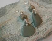 Earrings with beach pebble and aqua terra jasper