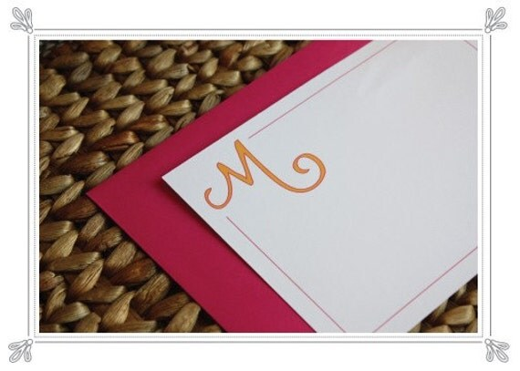 Hand Drawn Monogramed Personalized Stationery - Boxed Set of 20