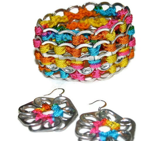 SET Cuff Bracelet & Earrings, Dangle - Rainbow colors, Metal  Pop Tab