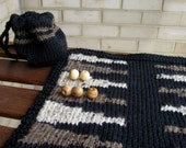 Knitted Backgammon Game and Matching Game-piece Bag