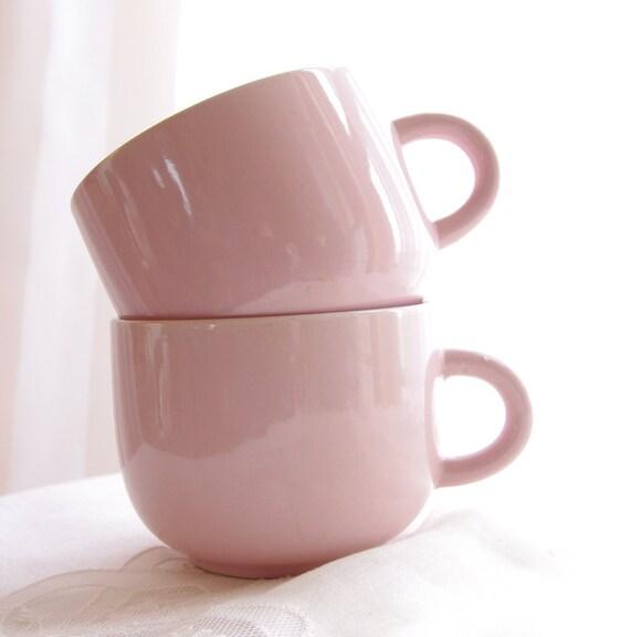 Vintage Mugs Pink Peach Stoneware Tea Cups Coffee Mugs Shabby Chic Rose Feminine Romantic, Set of 2- Vintage Home Decor
