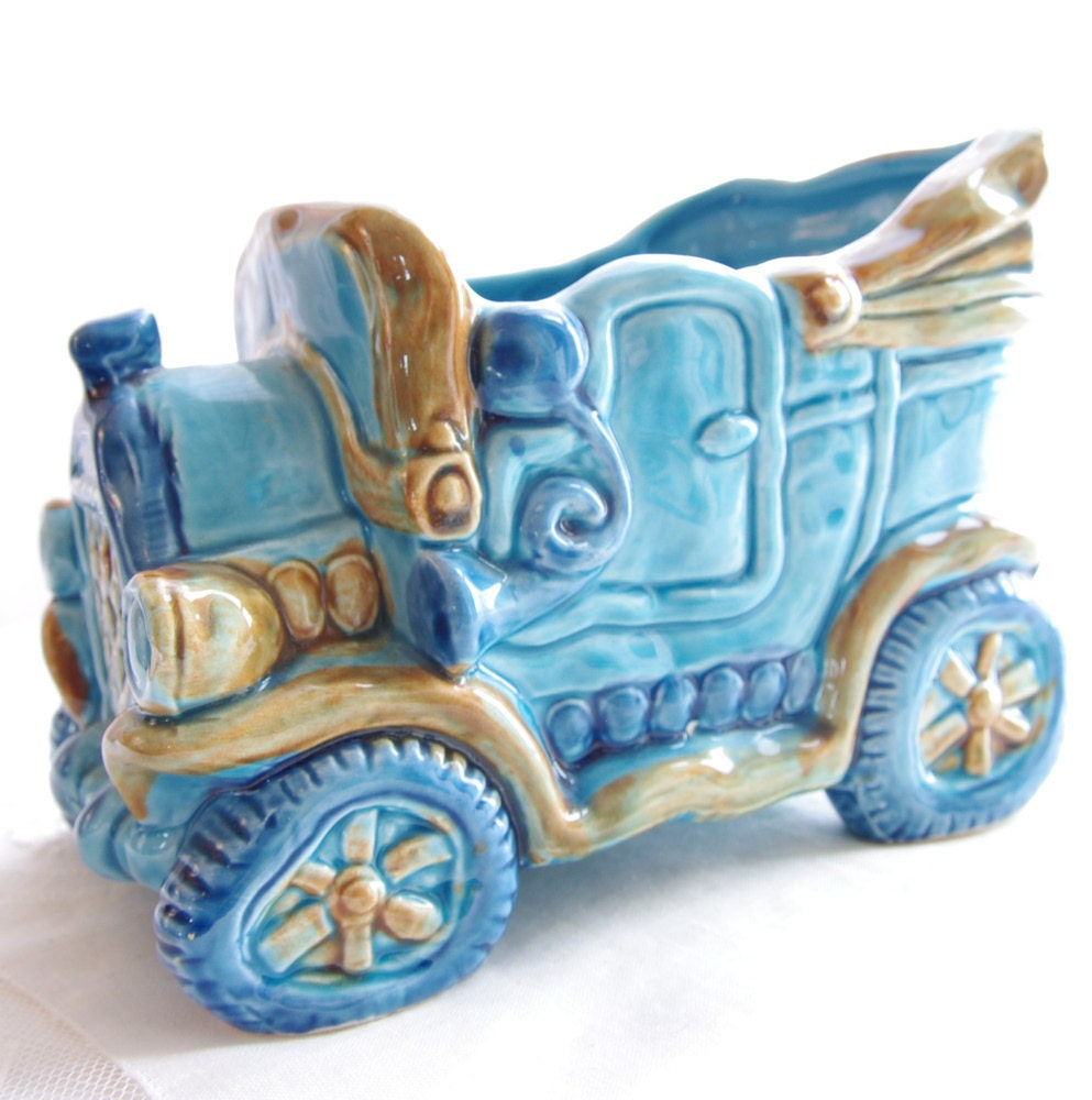 Vintage Home Decorations: Vintage Home Decor Blue Car Ceramic Planter Collectible Boys