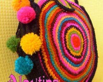 Colorful mexico round circle stripy pompon shoulder crossbody bag purse wallet