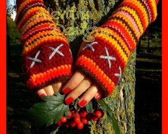 Crochet Stripy burgundy  Fingerless Gloves Arm warmers Fingerless Mittens EmbroideredArm warmers