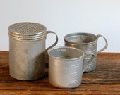 Vintage Aluminum Measuring Cups and Sugar Shaker, Instant Kitchen Collection