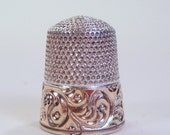 Vintage Sterling Silver Thimble By Simons, Beautiful Scrolling Design, Size 9
