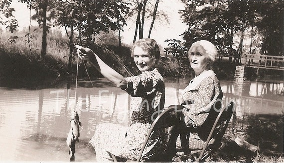 """Vintage """"Catch of the Day"""" Photos of Family Fishing in the 1930's, Set of 2"""