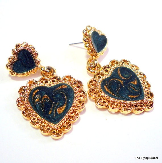Vintage Green and Gold Heart Shaped Drop Earrings