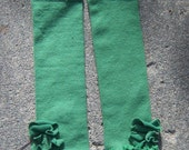Ruffled Green Leg Warmers with Floral Accents FREE shipping through 12/3