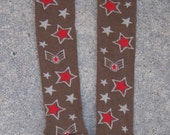 Boys Arm/Leg warmers in Military Brown with Red Stars Bonus: FREE set of Green Military themed leg/arm warmers