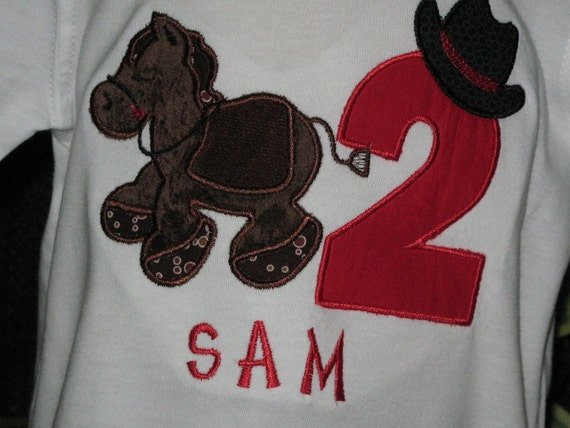 Giddy Up Horsey Boy's Birthday Shirt/Bodysuit with Number Age and FREE Personalization
