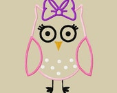 Design - Whimsical Applique Owl with Bow Embroidery Design -  5x7 and 6x10 Mega Hoop