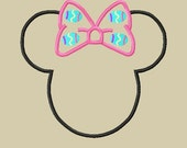 Design - Miss Mouse Head with Easter Egg Bow Applique Embroidery Design -4x4 5x7 and 6x10  Beginner Friendly