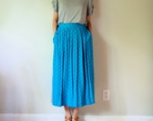 vintage women cobalt coral light blue white printed high waisted pleated midi calf long full maxi skirt (small, 2 4 6)