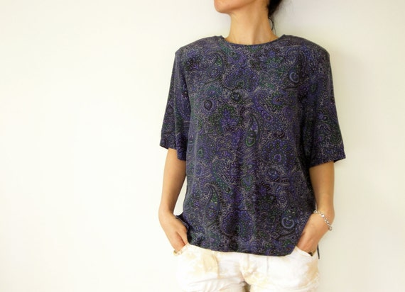 vintage women 80s silk purple navy blue green paisley floral printed boxy blouse (medium)