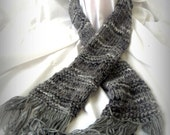 Shades of Grey Handknit Scarf Simple and Ready to Ship