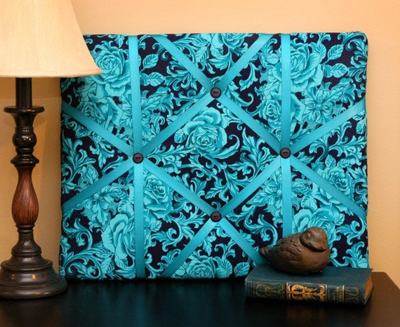 Wall Hanging Decor Roses Turquoise 16X20  Memory  Board