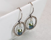Antiqued Hammered Fine Silver Orbit Earrings with Gemstones