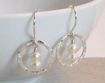Hammered Sterling Silver Orbit & Fresh Water Pearl Earrings