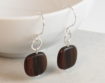 Wood and Sterling Silver Earrings