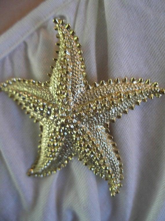 Textured VINTAGE GOLD STARFISH  Beach Fun Brooch