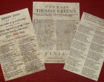 Replica Scottish Pirate Broadside Ballads