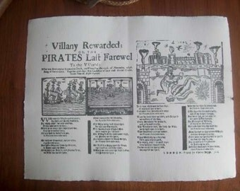 Replica 1696 Broadside Ballad - Villany Rewarded