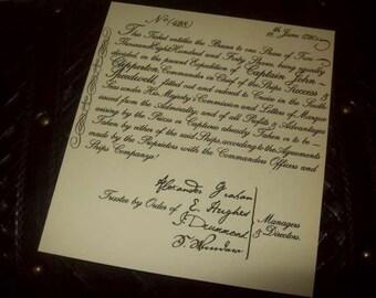 Replica 1720 Privateering Share Certificate
