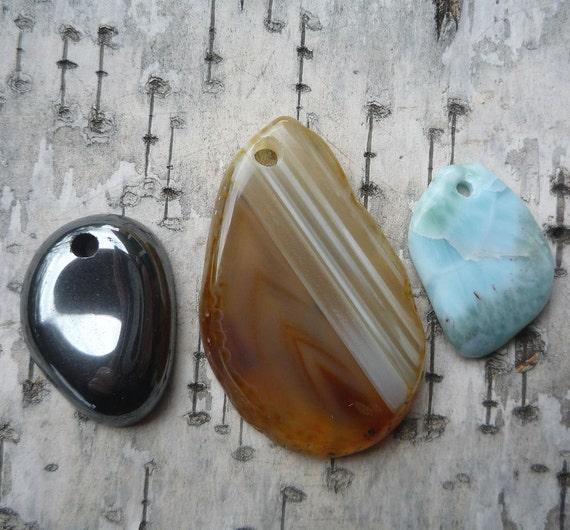 Three Stone Pendants, Agate, Larimar, and Hematite, Top Drilled