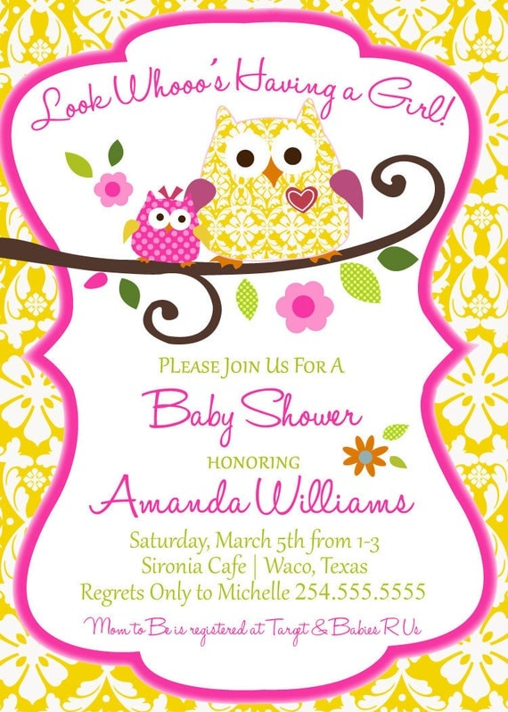 items similar to owl baby shower invitation digital file only on etsy