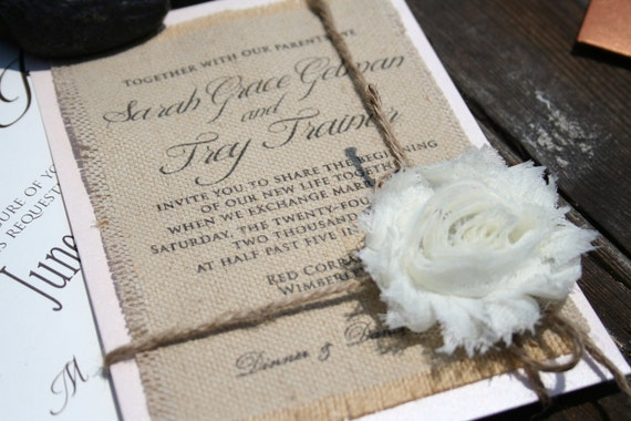 Wedding Invitations With Burlap: Items Similar To Invites Only: NOT A SAMPLE Shabby Chic