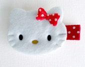 Hello to Kitty Hair Clip Red Polka Dot Bow