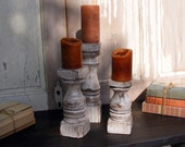 Balustrade Candlesticks (set of 3) Short Handcrafted Shabby White