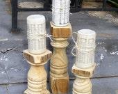 Candlesticks (set of 3) Handcrafted Rustic Balustrade