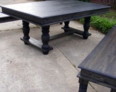 Trestle Dining Table And Matching Benches Ebony Stained Finish with Beautiful Hand Carved Legs