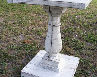 Pedestal Table Handcrafted Shabby White Balustrade Leg