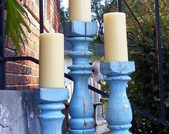 Funky Balustrade Candlesticks (set of 3) Shabby Harbor Blue