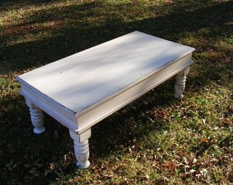 Shabby White Coffee Table with Beautiful Hand Carved Legs and a Hinged Top for Storage