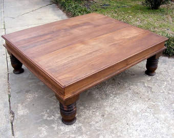 Handcrafted Coffee Table English Chestnut Finish With Beautiful Chunky Hand Carved Legs